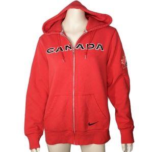 Nike Team Canada Red Fleece Zipper Hoodie Jacket